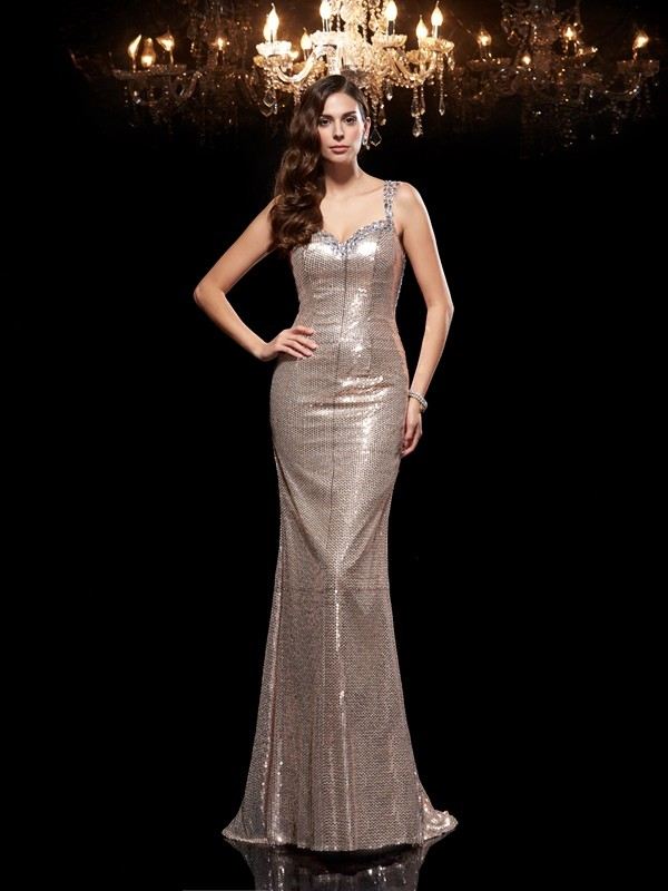 Sheath/Column Straps Sleeveless Long Sequins Dresses With Beading