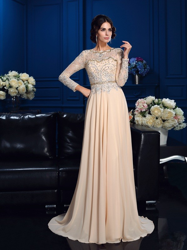 A-Line/Princess Scoop Long Sleeves With Beading Long Chiffon Mother of the Bride Dresses