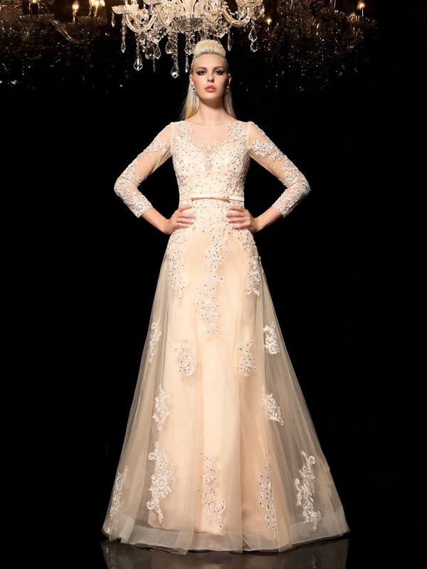 A-Line/Princess Sheer Neck With Applique Long Sleeves Long Satin Dresses