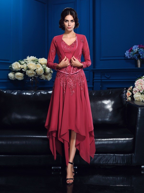 A-Line/Princess V-neck Sleeveless High Low Chiffon Mother of the Bride Dresses With Applique