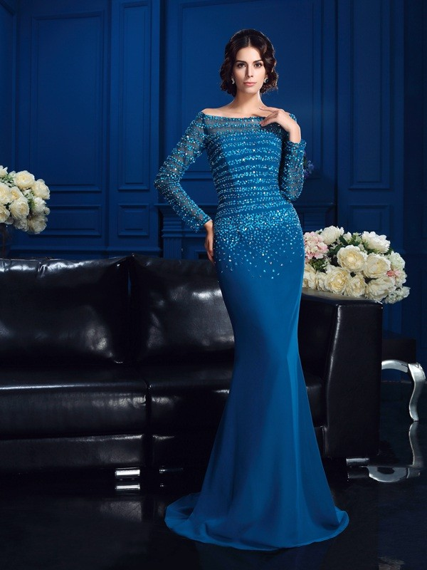Sheath Off-the-Shoulder Long Sleeves Long Chiffon Mother of the Bride Dresses With Beading