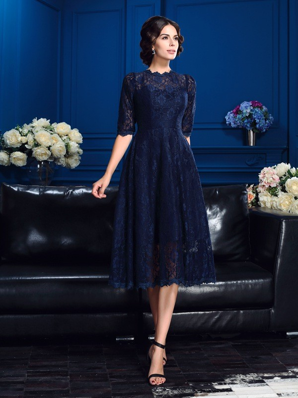 Jewel A-Line/Princess Lace 1/2 Sleeves Short Lace Mother of the Bride Dresses