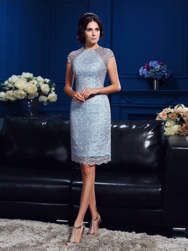 Sheath/Column Scoop Lace Short Sleeves Satin Short/Mini Mother of the Bride Dresses