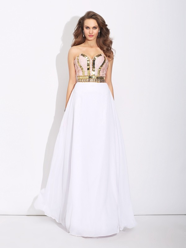 A-Line/Princess Sweetheart Sleeveless Chiffon Floor-Length Dresses With Beading