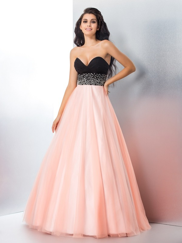 Ball Gown Sweetheart Sleeveless With Beading Long Satin Quinceanera Dresses