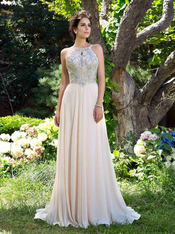 Spaghetti Straps A-Line/Princess Sleeveless Chiffon Long Dresses With Beading