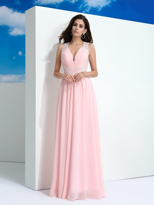 Straps A-Line/Princess Sleeveless Long Chiffon Dresses With Beading