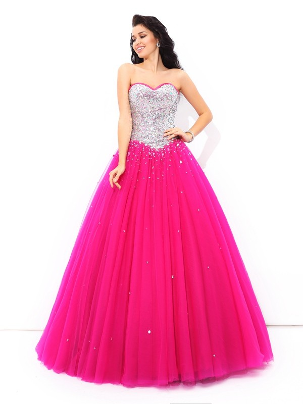 Ball Gown Sweetheart Sleeveless Long Satin Quinceanera Dresses With Beading