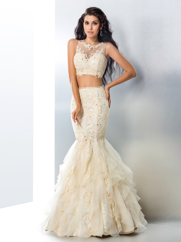 Trumpet/Mermaid Sheer Neck With Beading Sleeveless Long Tulle Two Piece Dresses