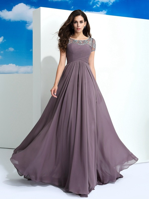 A-Line/Princess Sheer Neck Short Sleeves Long Chiffon Dresses With Beading