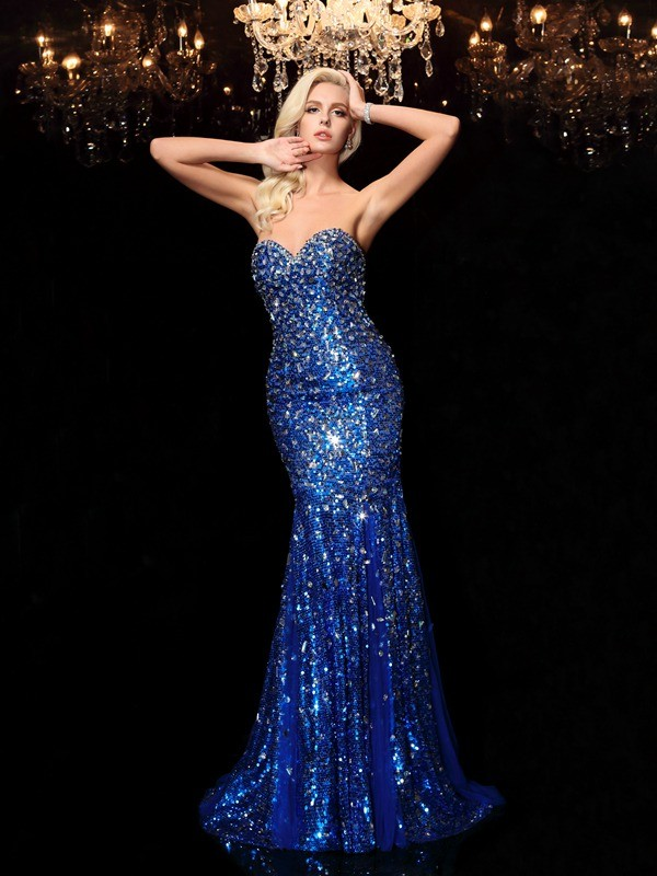 Flawless Sweetheart Trumpet/Mermaid Sequin Sleeveless Sweep/Brush Train Sequins Dresses