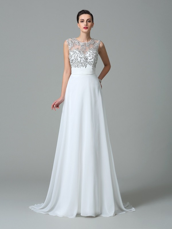 Jewel A-Line/Princess Sleeveless Long Chiffon Dresses With Beading