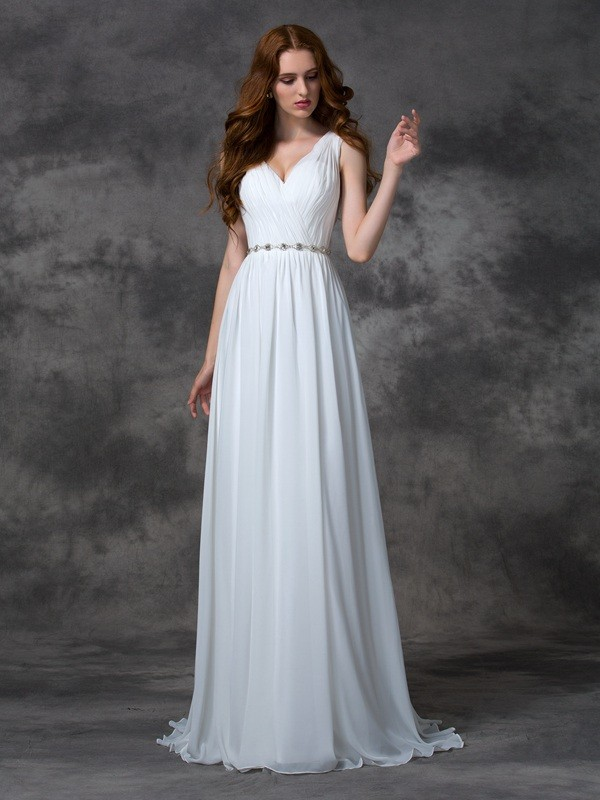 A-line/Princess V-neck Sleeveless Sweep/Brush Train Chiffon Dresses With Beading