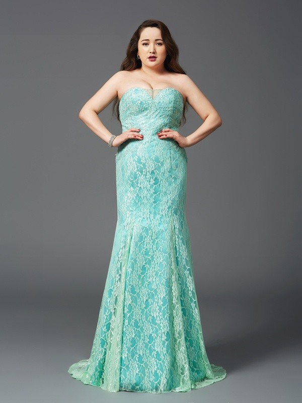 Strapless Sheath/Column Lace Sleeveless Satin Long Plus Size Dresses