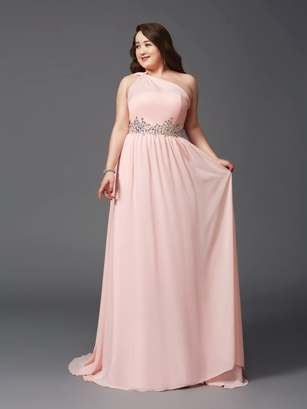 One-Shoulder A-Line/Princess Sleeveless Chiffon Long Plus Size Dresses With Rhinestone