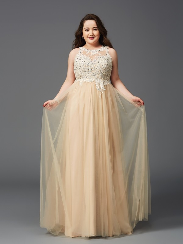 A-Line/Princess Scoop With Rhinestone Sleeveless Net Long Plus Size Dresses