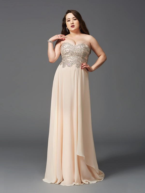 A-Line/Princess Sweetheart Sleeveless Chiffon Long Plus Size Dresses With Rhinestone
