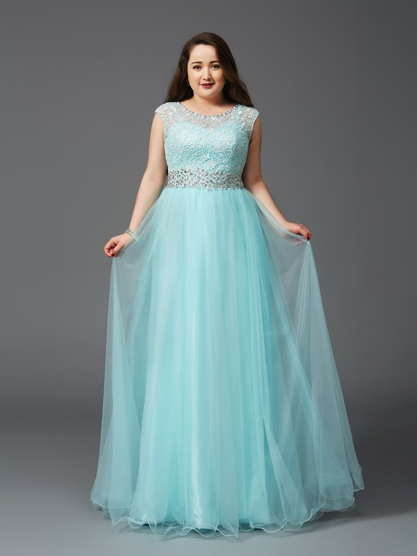 A-Line/Princess Scoop Sleeveless Long Elastic Woven Satin Plus Size Dresses With Rhinestone