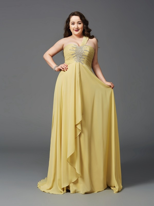 A-Line/Princess One-Shoulder Sleeveless Long Chiffon Plus Size Dresses With Rhinestone