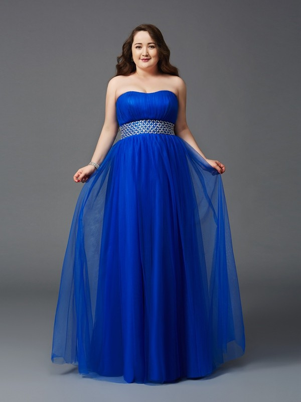 A-Line/Princess Strapless Sleeveless Long Net Plus Size Dresses With Rhinestone