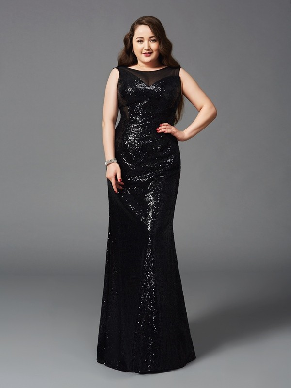 Flawless Sheath/Column Scoop Sleeveless Long Plus Size Dresses With Sequins