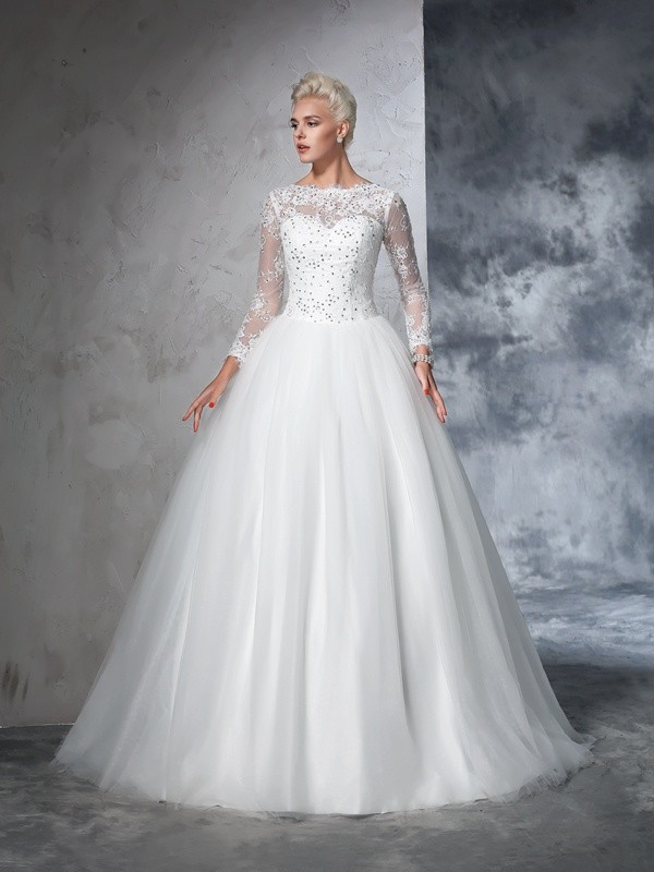 Ball Gown Bateau Sweep/Brush Train Lace Long Sleeves Net Wedding Dresses