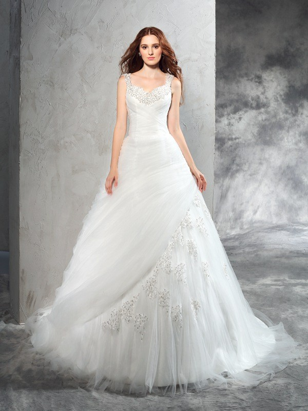 Fantastic Ball Gown Straps Sleeveless Long Net Wedding Dresses With Applique