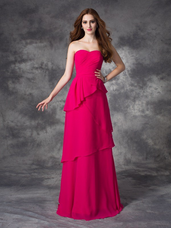 A-line/Princess Sweetheart Sleeveless Long Chiffon Bridesmaid Dresses With Layers
