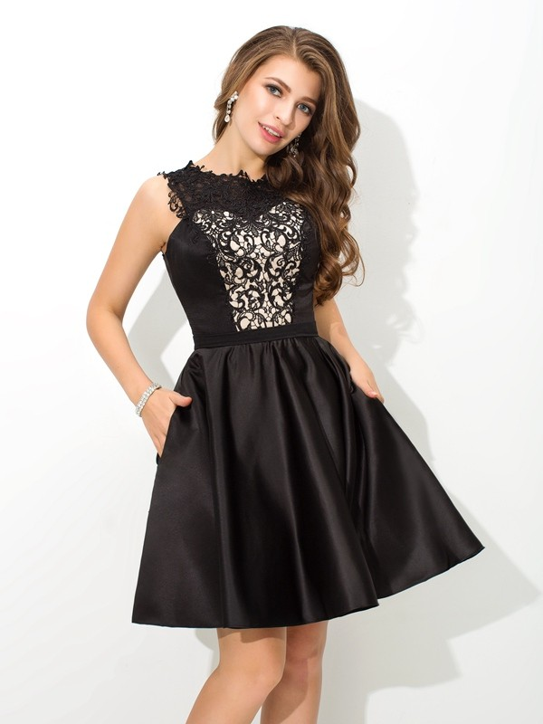 Stunning A-Line/Princess Scoop Lace Sleeveless Satin Short/Mini Dresses