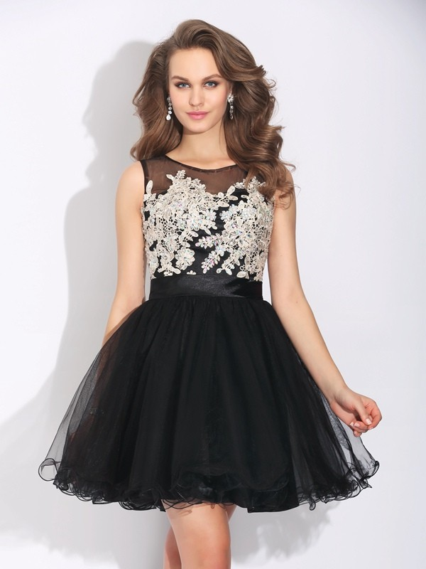 A-Line/Princess Scoop Sleeveless Net Short/Mini Dresses With Ruffles