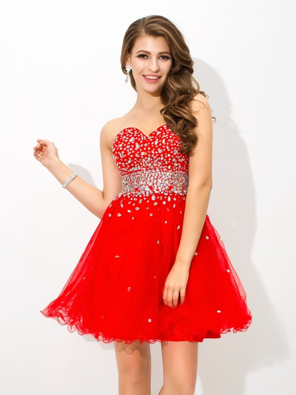 A-Line/Princess Sweetheart Sleeveless Organza Short/Mini Dresses With Beading