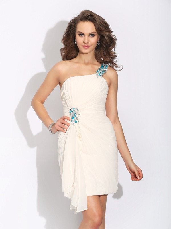 One-Shoulder Sheath/Column Sleeveless Chiffon Short/Mini Dresses With Beading