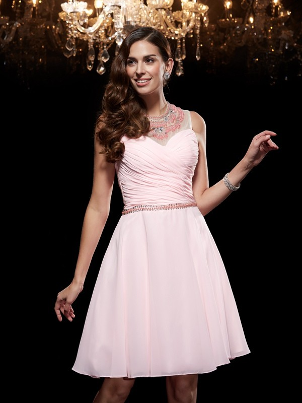 A-Line/Princess Scoop Sleeveless Chiffon Short/Mini Dresses With Beading