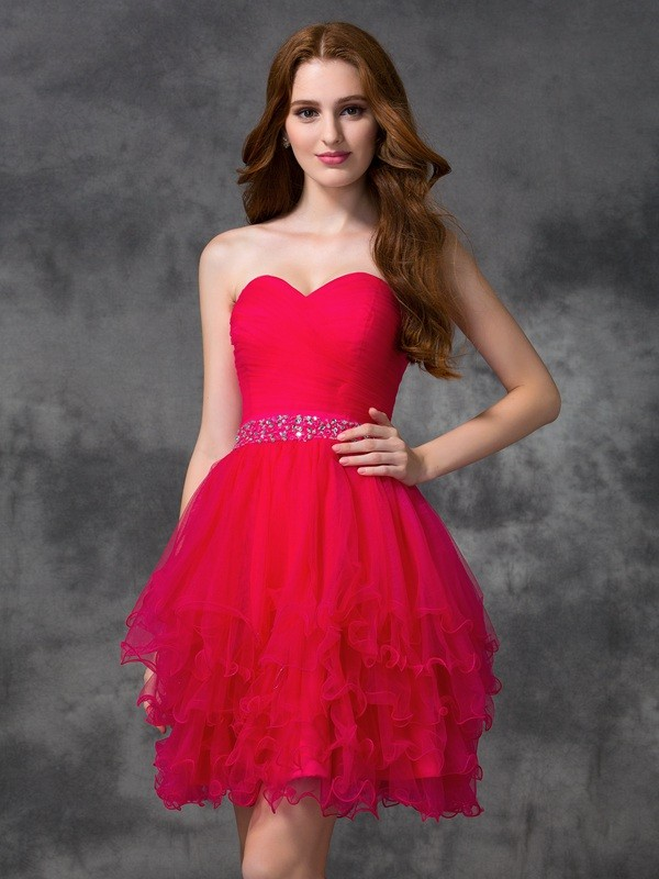 A-line/Princess Sweetheart Sleeveless Satin Short/Mini Dresses With Beading