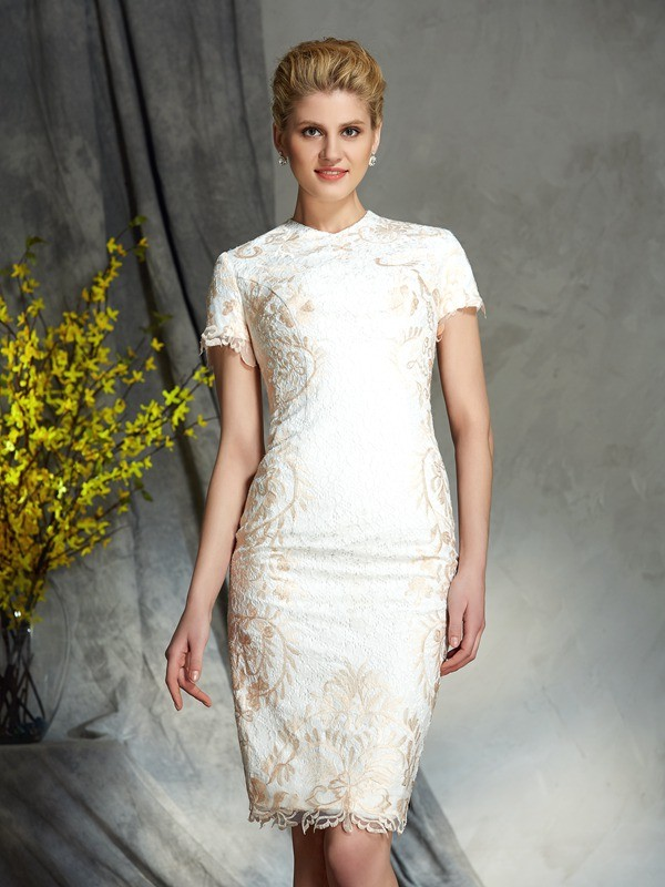 Sheath/Column Jewel Lace Short Sleeves Short Lace Mother of the Bride Dresses