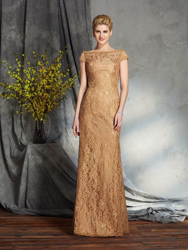 Sheath/Column Bateau Lace Short Sleeves Lace Long Mother of the Bride Dresses