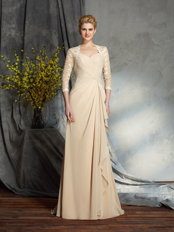 Sweetheart A-Line/Princess Lace 3/4 Sleeves Long Chiffon Mother of the Bride Dresses