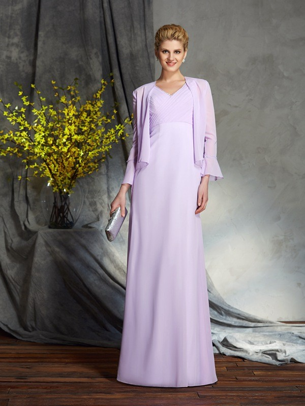 Sheath/Column V-neck Sleeveless Chiffon Long Mother of the Bride Dresses With Applique