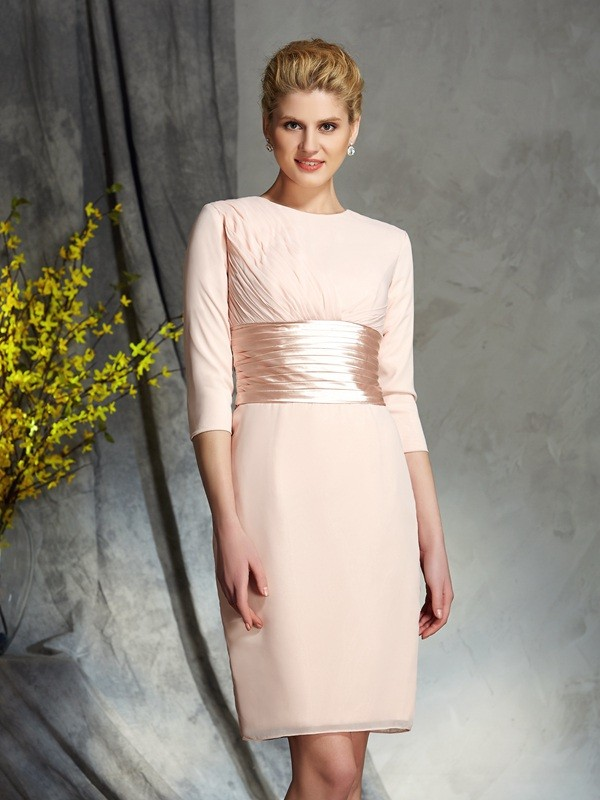 Chiffon Sheath/Column Scoop 3/4 Sleeves Short Mother of the Bride Dresses