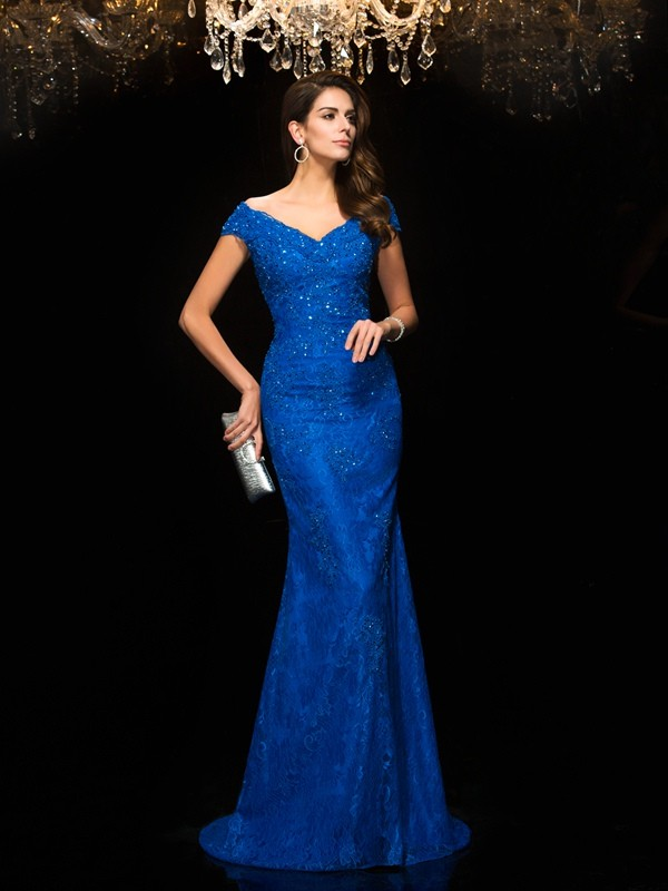 Attractive Trumpet/Mermaid V-neck Lace Sleeveless Long Lace Mother of the Bride Dresses