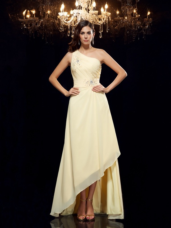 A-Line/Princess One-Shoulder Sleeveless High Low Chiffon Dresses With Beading