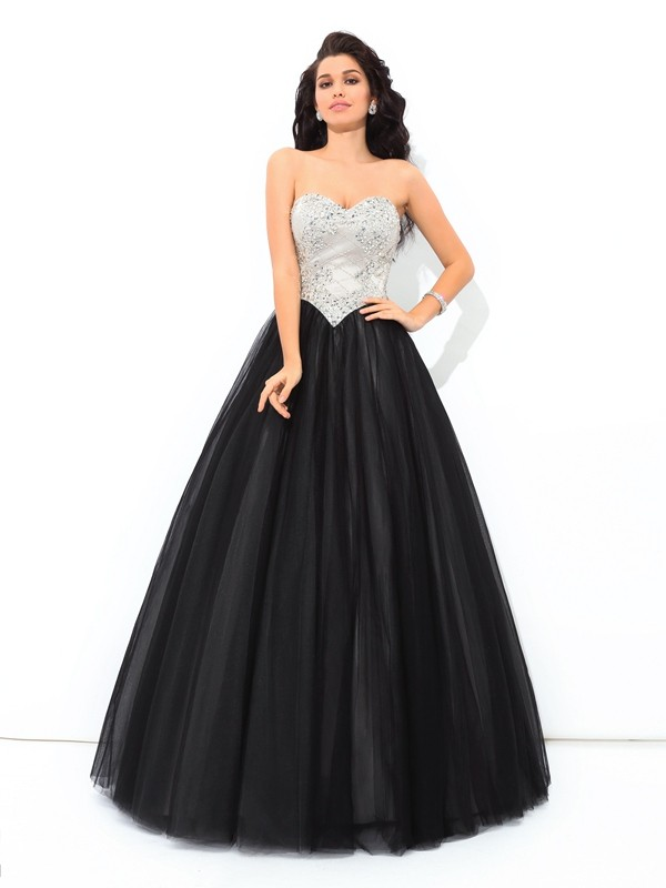 Ball Gown Sweetheart Sleeveless Long Net Quinceanera Dresses With Paillette