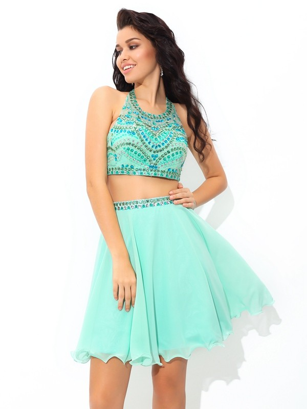 A-Line/Princess Sheer Neck With Rhinestone Sleeveless Short Chiffon Two Piece Dresses