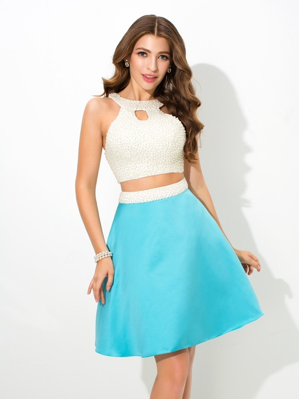 A-Line/Princess Jersey Sleeveless Short Satin Two Piece Dresses With Beading