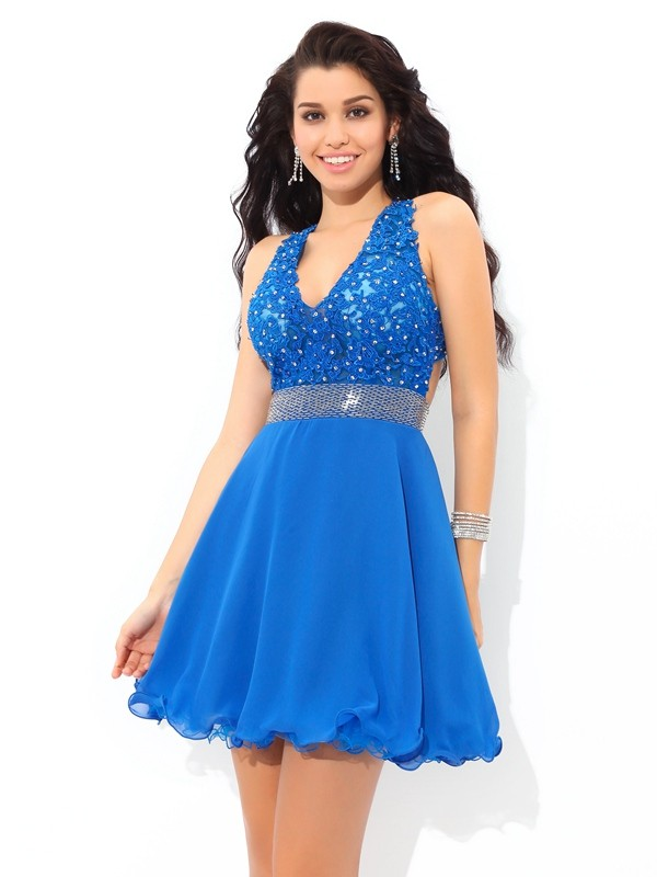 A-Line/Princess V-neck Sleeveless Short Chiffon Dresses With Applique