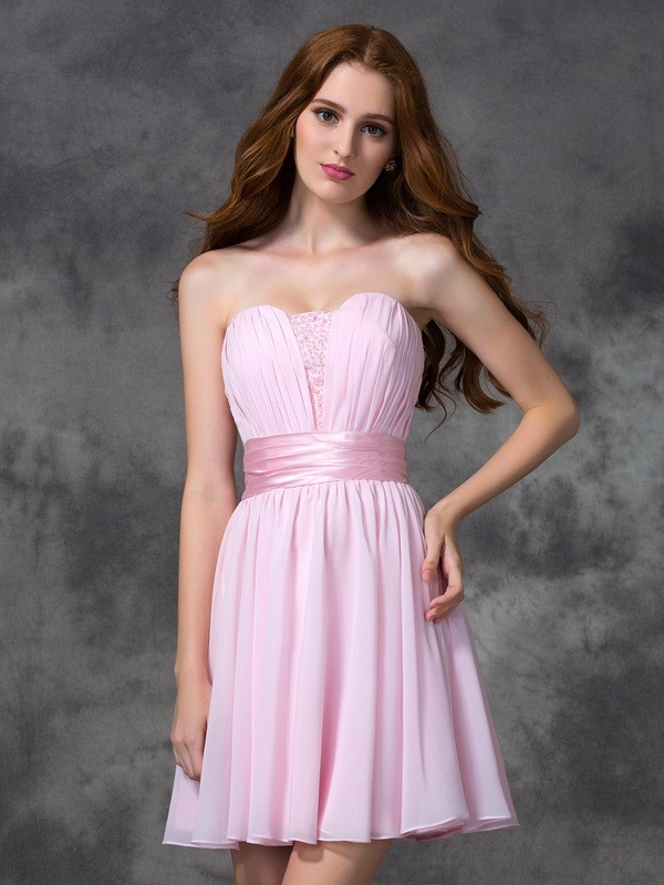 A-line/Princess Sweetheart Sleeveless Short Chiffon Dresses With Ruched