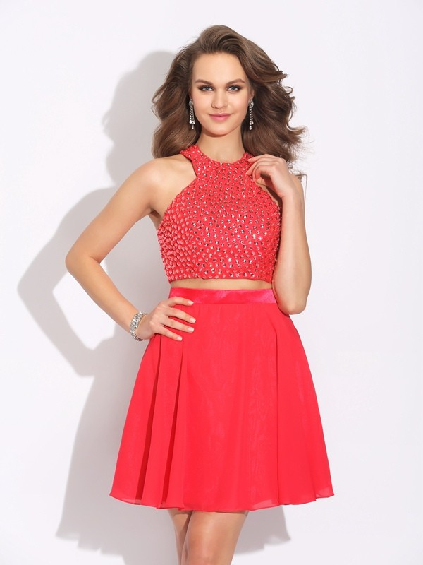Jewel A-Line/Princess Crystal Sleeveless Short Chiffon Two Piece Dresses
