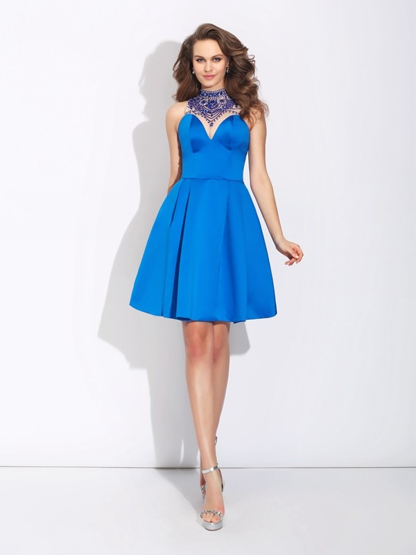 A-Line/Princess High Neck Sleeveless Short Satin Dresses With Beading