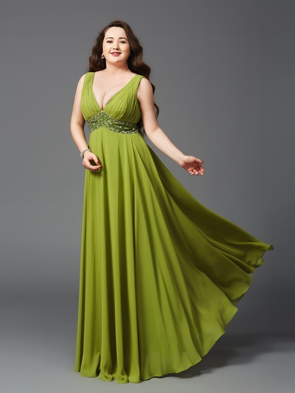 A-Line/Princess Straps Sleeveless Long Chiffon Plus Size Dresses With Rhinestone