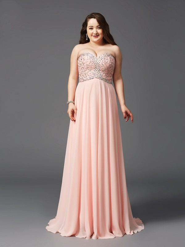 A-Line/Princess Sweetheart Sleeveless Long Chiffon Plus Size Dresses With Beading
